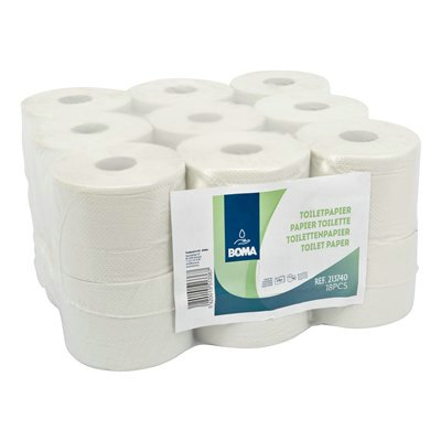 213740: Traditioneel toiletpapier - recycled tissue - 2-laags - 740 vel - gewafeld - WIT - 18 rollen